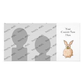 Rabbit Eating a Dandelion. Customized Photo Card