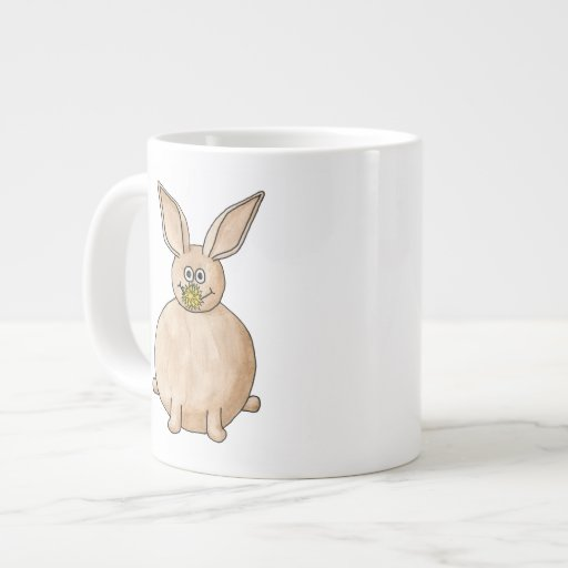 Rabbit Eating a Dandelion. 20 Oz Large Ceramic Coffee Mug