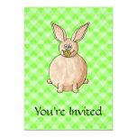 "Rabbit eating a flower. 5"" x 7"" invitation card"