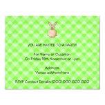 "Rabbit eating a flower. 4.25"" x 5.5"" invitation card"