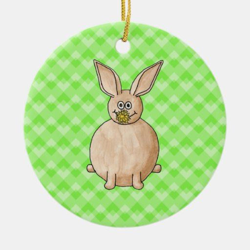 Rabbit eating a flower. ornaments