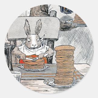 Rabbit Eating Pancake Breakfast Classic Round Sticker