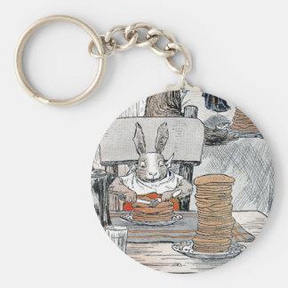Rabbit Eating Pancake Breakfast Keychain