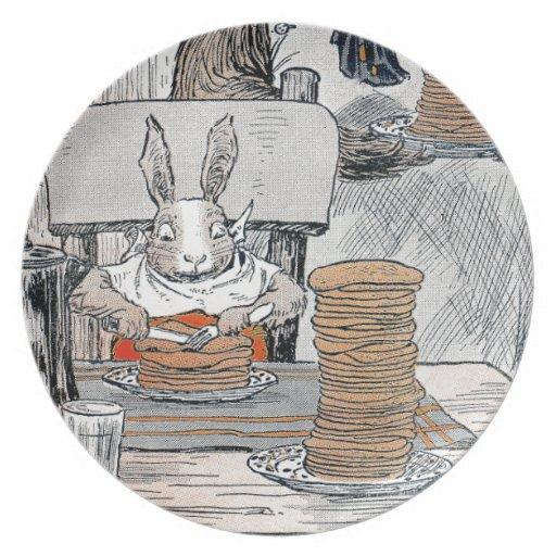 Rabbit Eating Pancake Breakfast Melamine Plate
