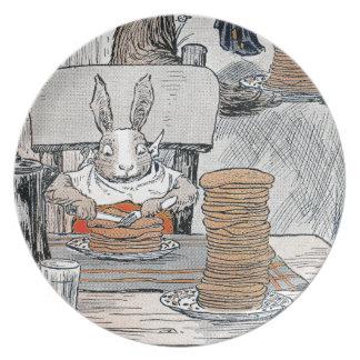 Rabbit Eating Pancake Breakfast Dinner Plates
