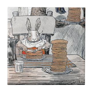 Rabbit Eating Pancake Breakfast Small Square Tile