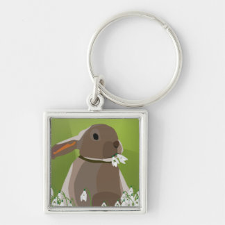 Rabbit eating snowdrops Silver-Colored square keychain