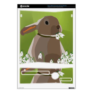 Rabbit eating snowdrops xbox 360 s console skins
