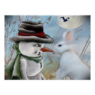 Rabbit Eats Snowman's Nose Poster