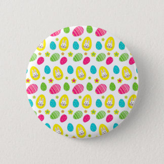 Rabbit & Eggs Easter bright pattern Button