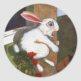 Rabbit Escapes Potting Shed Classic Round Sticker