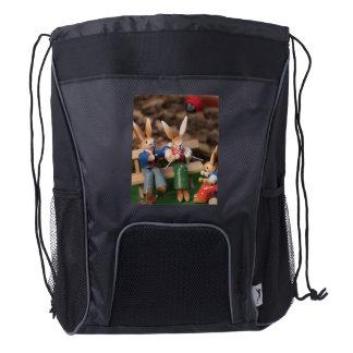 Rabbit Family Easter Drawstring Backpack