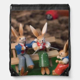 Rabbit Family Easter Drawstring Bag