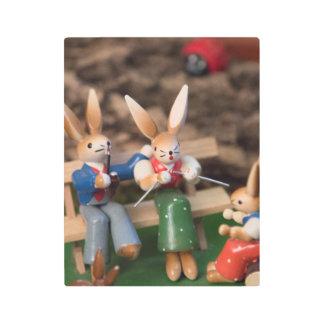 Rabbit Family Easter Metal Print
