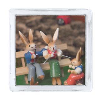 Rabbit Family Easter Silver Finish Lapel Pin