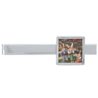 Rabbit Family Easter Silver Finish Tie Bar