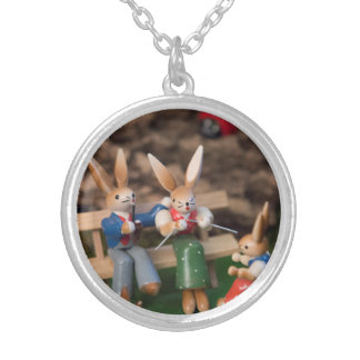 Rabbit Family Easter Silver Plated Necklace