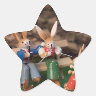 Rabbit Family Easter Star Sticker