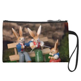 Rabbit Family Easter Suede Wristlet Wallet