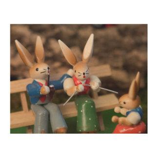 Rabbit Family Easter Wood Print