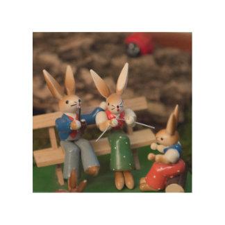 Rabbit Family Easter Wood Wall Art