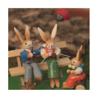 Rabbit Family Easter Wood Wall Decor