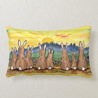 Rabbit Family Sunrise Upbeat Designer Throw Pillow