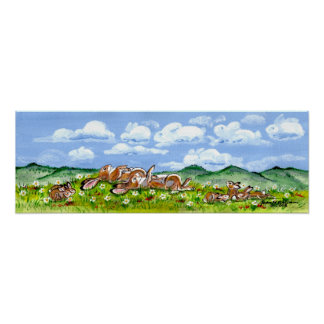 Rabbit Family Watching Clouds Poster Baby Bunny