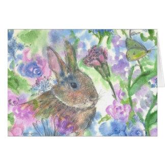 Rabbit Flower Garden Happy Easter Card