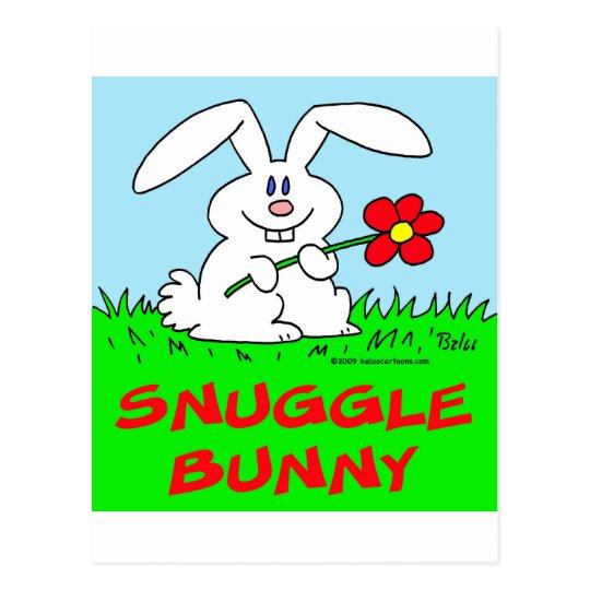 rabbit flower snuggle bunny postcard