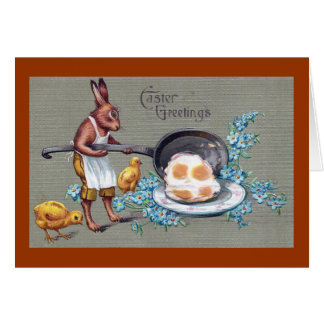 Rabbit Frying Eggs Vintage Easter Greeting Card