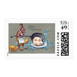 Rabbit Frying Eggs Vintage Easter Stamp