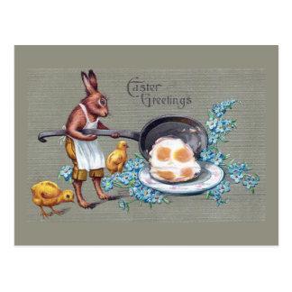 Rabbit Frying Eggs Vintage Easter Postcard