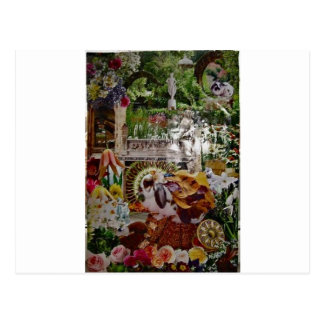 rabbit garden mosaic postcard