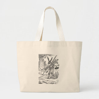 Rabbit Gardener with Shovel & Uprooted Plants Large Tote Bag