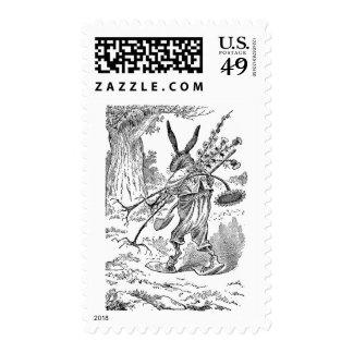 Rabbit Gardener with Shovel & Uprooted Plants Postage Stamp