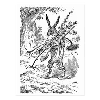 Rabbit Gardener with Shovel & Uprooted Plants Postcard