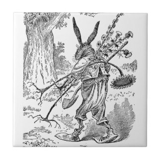 Rabbit Gardener with Shovel & Uprooted Plants Ceramic Tile