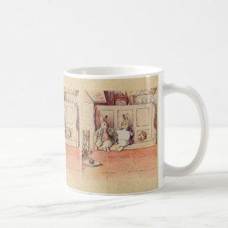Rabbit Gentlemen at the Fireplace Coffee Mug