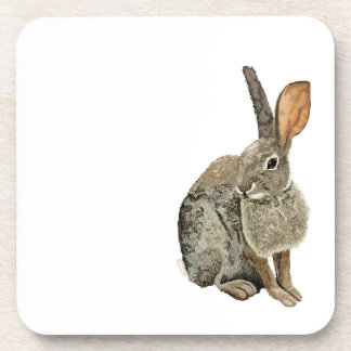 Rabbit glossy cork-backed coaster