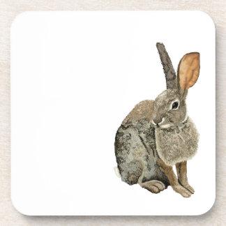 Rabbit glossy cork-backed coaster