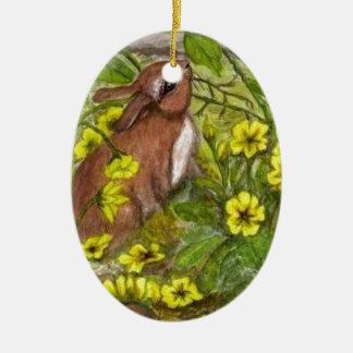 Rabbit - Happy Easter Ceramic Ornament