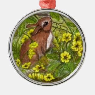 Rabbit - Happy Easter Metal Ornament