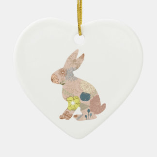 Rabbit Hare Bunny Silhouette flowers floral Ceramic Ornament
