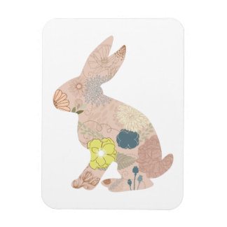 Rabbit Hare Bunny Silhouette flowers floral Magnet