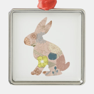 Rabbit Hare Bunny Silhouette flowers floral Metal Ornament