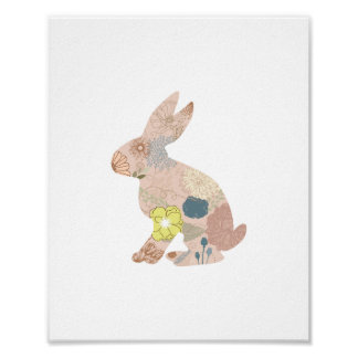 Rabbit Hare Bunny Silhouette flowers floral Poster