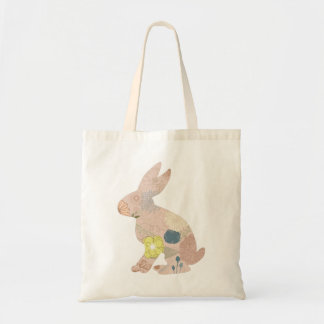 Rabbit Hare Bunny Silhouette flowers floral Tote Bag