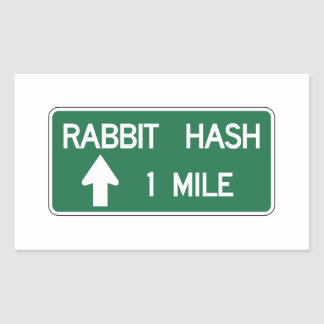 Rabbit Hash, Road Marker, California, US Rectangular Sticker