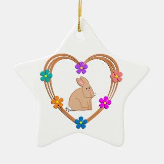 Rabbit Heart Ceramic Ornament